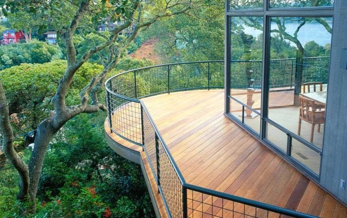 Elevated curved Ipe deck / Sausalito, Ca