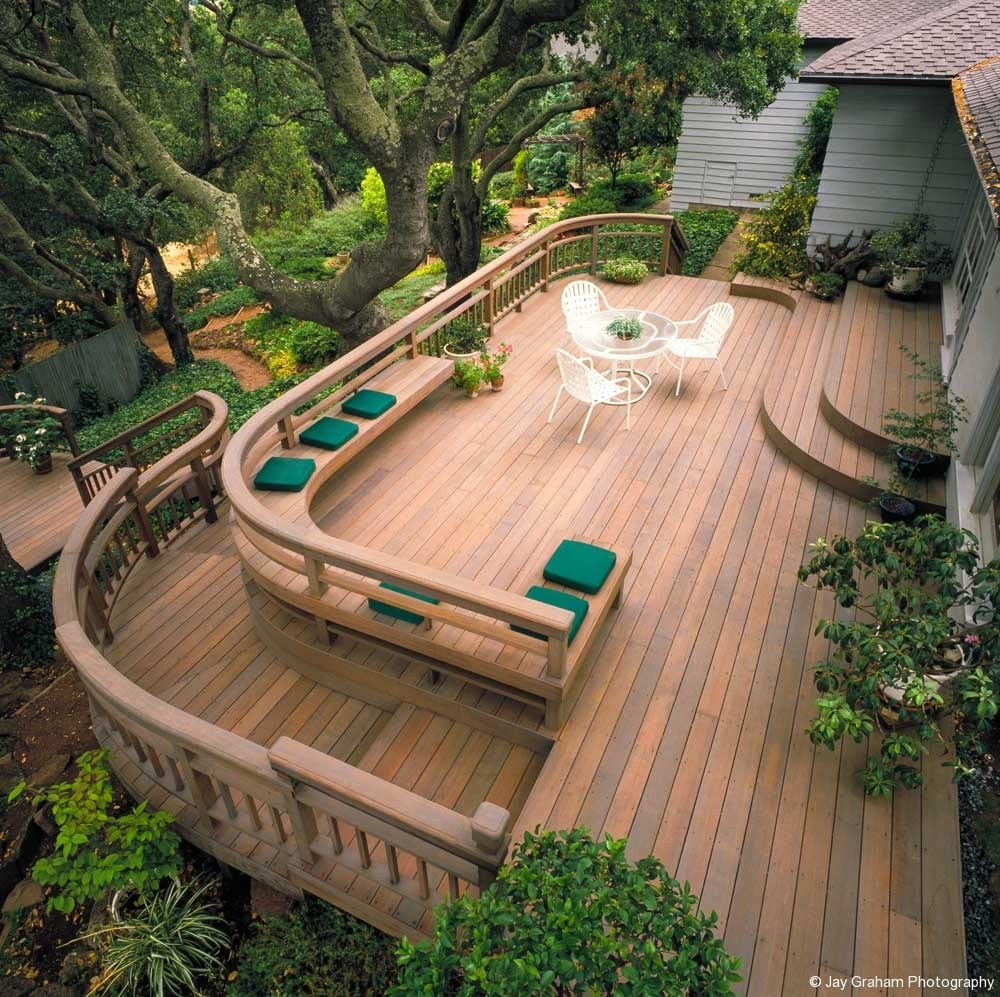 Curved Redwood Deck North Marin