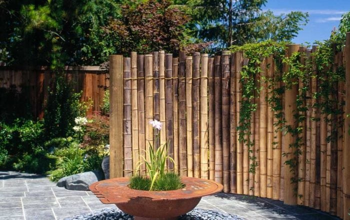 Bamboo screen with metal planter