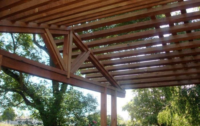 Redwood shade structure / Novato
